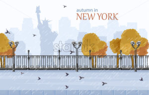 New York autumn Vector flat style. Fall season park view - starpik