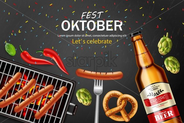 October fest poster Vector realistic. Beer, pretzel, grill sausage food. 3d illustration - starpik