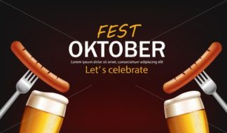 October fest poster with beer glasses and sausage Vector realistic. grill food 3d illustration - starpik