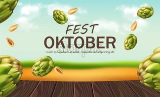 October fest poster with hops Vector realistic. Falling green fresh hops nature background. 3d illustration - starpik
