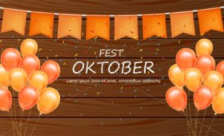 October fest welcome poster Vector realistic. Balloons and confetti wooden vintage background - starpik