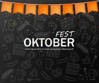 October fest welcome poster Vector realistic. Dark background. Beer and pretzel pattern line artistic illustration - starpik