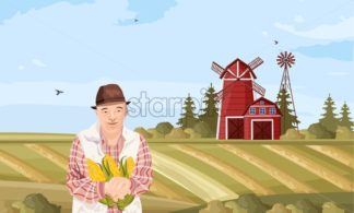 Old Farmer Vector flat style. Organic agriculture template layout - starpik