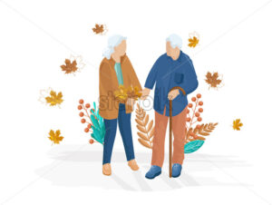Old couple walking Vector flat style. Autumn fall season illustration - starpik