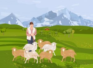 Old farmer sheep Vector. Landscape background mountains view - starpik