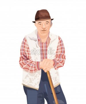 Old man Vector isolated on white. Farmer smilling cartoon character - starpik