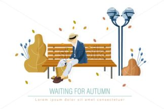 Old man in the park Vector. Fall season banner poster flat style - starpik