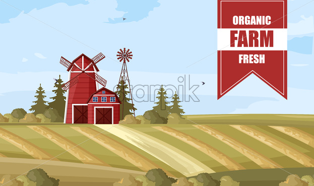 Organic farm poster Vector. Countryside Label layout template - starpik