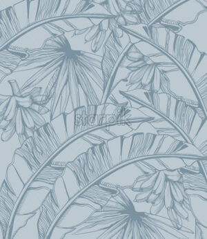 Palm leaves and bananas pattern tropic vector line art. Summer poster exotic decoration - starpik