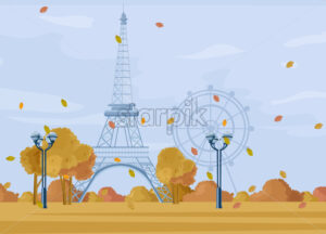 Paris Autumn season park Vector. Fall poster cityscape. Eiffel Tower illustration - starpik