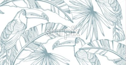 Parrot card Vector line art. Exotic palm leaves decors. Summer party background - starpik