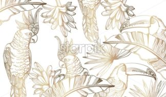 Parrot golden card Vector line art. Exotic palm leaves decor. Summer party background - starpik