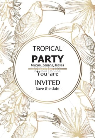 Parrot golden card Vector line art. Exotic palm leaves decor. Summer tropic party poster - starpik