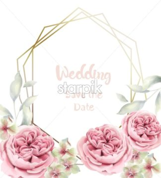 Peony flowers card Vector watercolor. Delicate pink floral frame - starpik