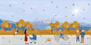 People in park autumn Vector flat style. Fall season poster. Urban lifestyle recreation - starpik