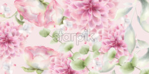 Pink chrysanthemums floral background Vector watercolor. Delicate decor texture - starpik