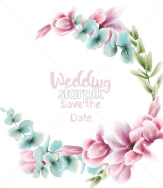 Pink floral wreath Vector watercolor. Blue leaves delicate decoration. Provence rustic poster. Wedding, birthday invitation, ceremony event greeting decor - starpik