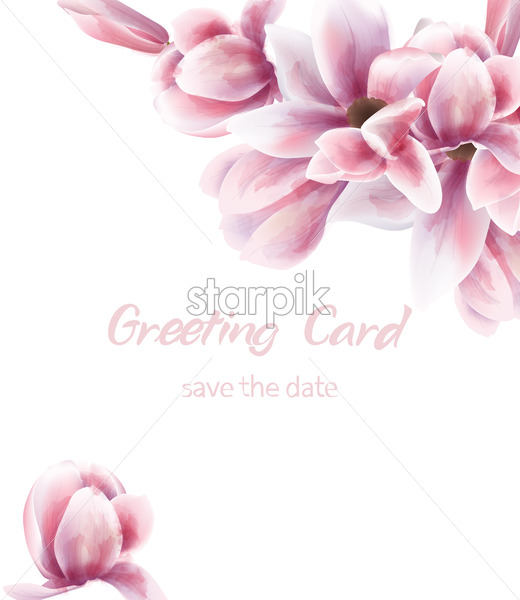 Pink lily bouquet Vector watercolor. Blue leaves delicate decoration. Provence rustic boho poster. Wedding, birthday invitation, ceremony event greeting decor - starpik