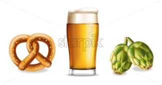 Pretzel beer and hop isolated Vector realistic set collection - starpik
