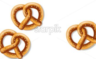 Pretzel on white background Vector realistic. fresh bavarian food - starpik