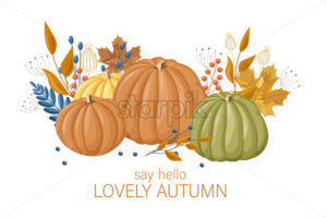 Pumpkins autumn card Vector flat style. Fall season colorful poster - starpik