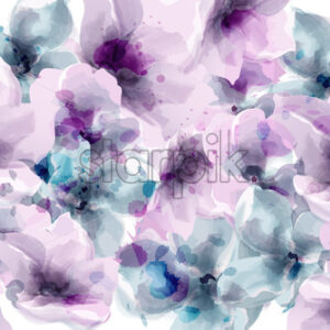 Purple floral Vector watercolor. Provence rustic poster. Wedding card, birthday ceremony event decor - starpik