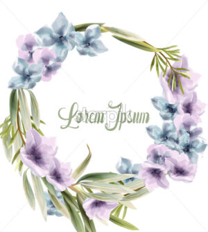 Purple floral wreath Vector watercolor. Provence rustic poster. Wedding card, birthday ceremony event decor - starpik