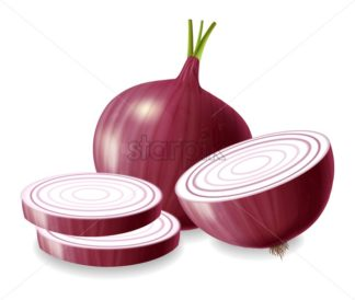 Red onion vector realistic isolated on white 3d illustration - starpik
