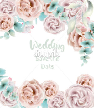 Rose flower card Vector watercolor. Vintage retro style wedding invitation or greeting - starpik