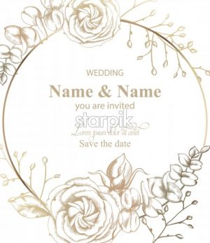Rose flower round card Vector line art. Vintage retro style wedding invitation or greeting - starpik