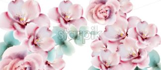 Roses watercolor background card Vector. Delicate floral decor bouquet - starpik
