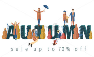 Sale banner happy people autumn Vector flat style. Fall seasonal discount brochure template - starpik
