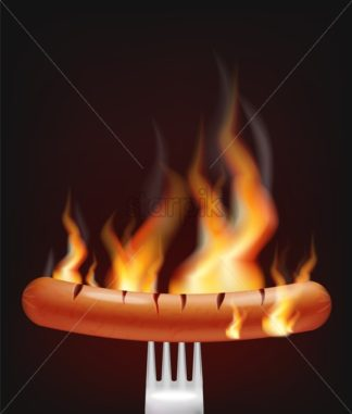 Sausage on fire Vector realistic. Menu advert concept. Dark background. 3d illustration burning food poster template - starpik