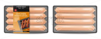 Sausage pack Vector realistic. Product placement label design. Uncooked food serving . 3d illustration - starpik