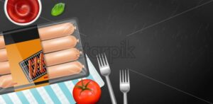 Sausage pack Vector realistic. Product placement label design. Uncooked food serving . dark table 3d illustration - starpik