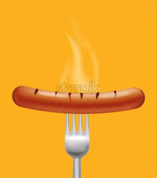 Sausage steaming Vector realistic. Menu advert concept. 3d illustration burning food poster template - starpik