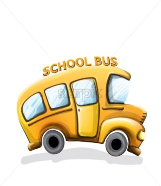 School bus funny cartoon Vector. Happy smilling back to school concept - starpik