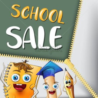 School sale cartoon characters Vector watercolor. Notebook pen and ruler funny characters illustration watercolor style - starpik