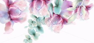 Transparent Flowers Vector watercolor. Provence rustic poster. Wedding card, birthday ceremony event decor - starpik