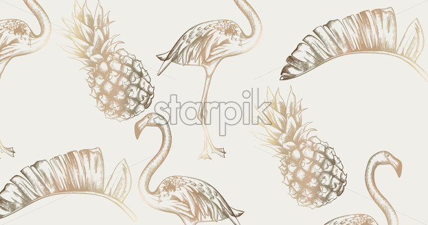 Tropic vintage card with flamingo and pineapple Vector. Retro extotic paradise shiny design texture - starpik