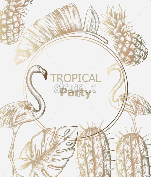 Tropic vintage pattern with flamingo and pineapple Vector. Retro extotic paradise shiny design texture - starpik
