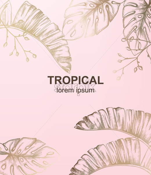 Tropic vintage pattern with palm leaves Vector. Retro shiny design texture - starpik