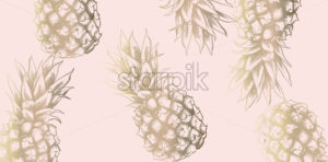 Tropic vintage pattern with pineapple Vector. Retro shiny design texture - starpik