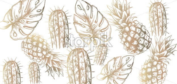 Tropic vintage pattern with pineapple and leaves Vector. Retro shiny design texture - starpik