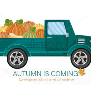 Van autumn harvest Vector. Harvest fall season poater template - starpik