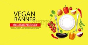 Vegan plate banner Vector realistic. Eggplant, pepper and tomatoes detailed 3d illustration - starpik