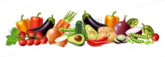 Vegetables banner Vector realistic. Avocado, eggplant, carrots and tomatoes detailed 3d illustration - starpik