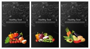 Vegetables brochure Vector realistic. Eggplant, tomatoes and onions banner. Vegetarian dinner menu. Healthy food templates poster - starpik