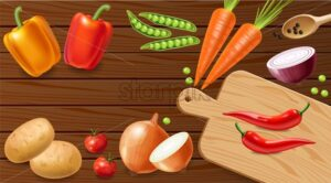 Vegetables on wooden table Vector realistic. Vegetarian dinner menu. Healthy food template poster - starpik