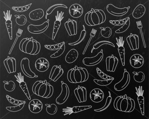 Vegetables pattern line art Vector. Pumpkin, carrot and tomatoes sketch. Menu grocery background - starpik